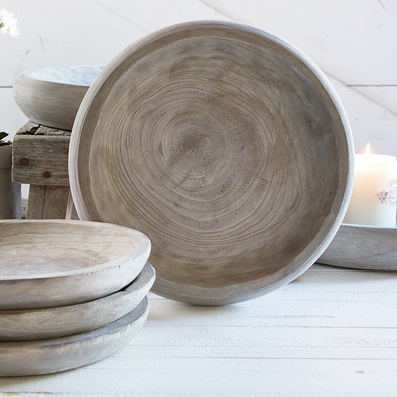 D3687 - Paulownia Wood Bowl - Grey - Large by CBGifts